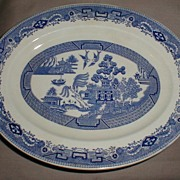 SALE Small Oval Blue Willow Platter, English, Bridgwood