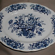 SALE Lovely Blue Printed Platter, Old English Bouquet, Ridgway