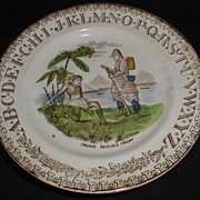 "Brown Transferware ABC Plate ""Crusoe Rescues Friday"""