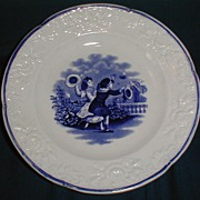Lovely Child's Plate, Blue Transfer Printed, Butterfly Catchers