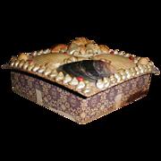 SALE Lovely Victorian Sea Shell Box, Diamond Shape