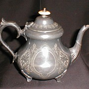 REDUCED Vintage Edwardian Silverplate Teapot, Britanoid