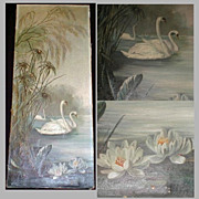 SALE 19th Century Oil Painting on Canvas, Swans & Water Lilies