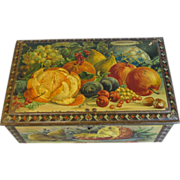 Gorgeous Vintage Fruit Still Life Cocoa Tin, PETTE
