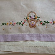 SALE Pr. Hand Embroidered Linen Towels C:1950