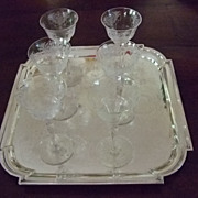 """SALE Set Of Six 6"""" Tall Etched Crystal Aperitif Stems C:1931"""