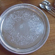 """Ellis Barker 9  3/4"""" Tray With Hand Engraved """"L"""""""