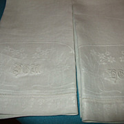 "Pair Of Huck Damask Linen Towels With Hand Embroidered ""HGM"" C:1950 (5 Prs. Availabl"