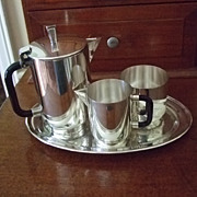 SALE PENDING Kirk Stieff 3 Piece Demitasse Set With Academy Silver Tray