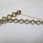 "SALE 14K Yellow Gold, Diamond And Emerald Bracelet 7 1/4"""