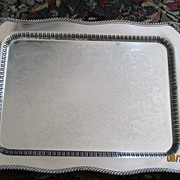 "SALE Footed Silver On Copper Handled Waiter Tray 30 1/2"" x 19"""
