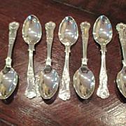 """SALE Set Of Eight """"Kings"""" Pattern Coffee Spoons"""