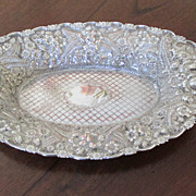 Silver On Copper Repoussed Bread Tray