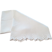 1950's Damask Linen Towel With Hand Embroidered Border