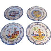 """Set Of 4 Tiffany Plates """"Discovery Of America"""""""