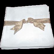 """SALE Set Of 8 Oversized Damask Irish Linen Napkins (22x24"""")"""
