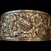 SALE Kirk & Son Sterling 19F Repousse Cuff Bracelet C:1940