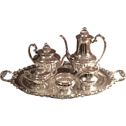 "Bernard C. Rice's Sons Silver Plated Tea/Coffee Set With ""Ascot"" Tray"