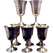 """SALE Set Of 8 Sterling Goblets With """"B"""" Engraved"""