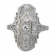 Art Deco Platinum Diamond Filigree Ring