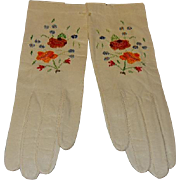 Vintage Capretto Lavabile Kid Leather Gloves w/Embroidery