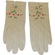 Capretto Lavabile Vintage Kid Leather Gloves w/Embroidery and Window-Pane Cutouts