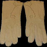 Vintage Lavabile Kid Leather Ecru Ladies Gloves