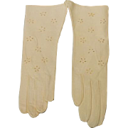 Vintage Lavabile Kid Leather Gloves w/Window Pane Flower Cutouts