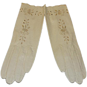 Vintage Kid Leather Gloves Embroidered