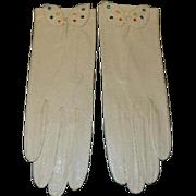Vintage Kid Leather Embroidered Gloves