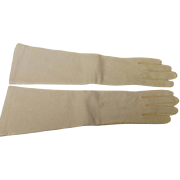 Vintage Elbow Length Bone White Kid Leather Gloves