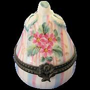 Limoges France Rochard Vintage Porcelain Figural Pear Shaped Trinket Box