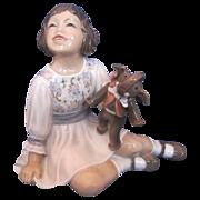 "Dahl Jensen #1204 ""Girl with Toy Elephant"" Porcelain Figurine"