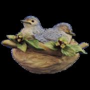 Cybis Porcelain Birds in Nest