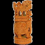 "Vintage Indian Royal Ambabari Elephant Figurine Hand Carved Wood  5"""