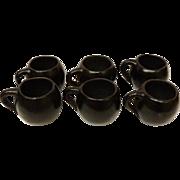 Oaxaca Mexico Set of 6 Cups Mugs Black Pottery 1970