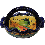 Mexico Talavera Pottery Braided Rope Style Handled Bowl With Scalloped Edge