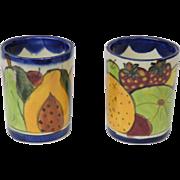 Vintage Mexico Talavera Pottery Set of 2 Mugs Cups
