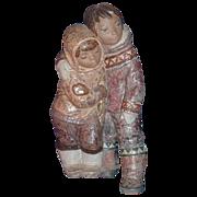 "Lladro Gres Figurine ""Eskimo Boy and Girl""  #12038.3"