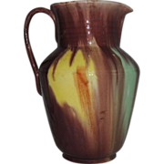 Vintage Mexico Folk Art Dripware Pottery Pitcher Red Clay