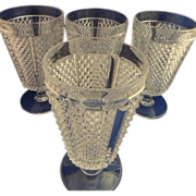 SOLD Vintage Hobnail Diamond Pattern Water Glass  Set of 4
