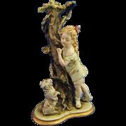 Vintage Capodimonte Porcelain Girl Figurine Merli Signed