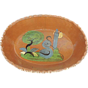 Vintage Folk Art Mexico Hand Painted Red Clay Pottery Bowl