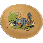 Vintage Folk Art Mexico Hand Painted Clay Pottery Bowl