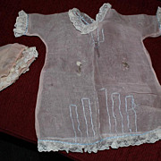 Beautiful Early Doll Dress of ruffle and lace