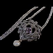 Antique Art Nouveau Edwardian Sterling Silver Paste Pearl Pendant Necklace