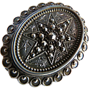 Victorian Sterling Silver Etched Brooch Pendant