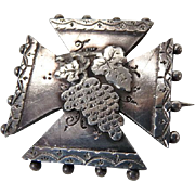 19th C. Victorian English Sterling Silver Pin Brooch