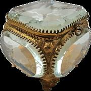 Victorian Gilt Metal Etched Beveled Glass Dresser Box