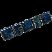 Art Deco Sterling Wachenheimer Chrysocolla Marcasite Pin Brooch